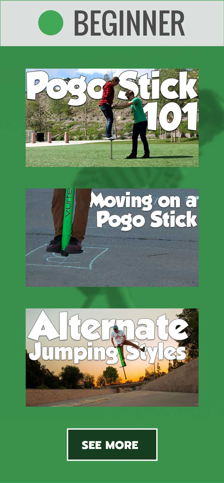 Vurtego Pogo Stick - Beginner Tutorial Videos